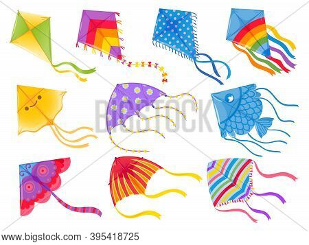 Cartoon Kites. Wind Flying Toy With Ribbon And Tail For Kids. Makar Sankranti. Butterfly, Fish And R