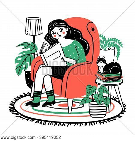 Woman Reads In Chair. Happy Relaxed Girl Reading Book In Cozy Armchair At Home. Books Lover With Pla