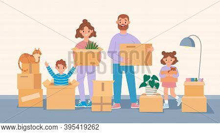 Happy Moving Family. Cartoon Parents And Kids Move To New Home, Packing Belongings. People Carry Box