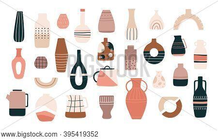 Scandinavian Vases. Ceramic Jugs, Pots And Teapots In Minimalistic Trendy Style. Decorative Pitcher,