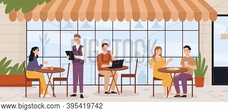 People In Outdoor Cafe. Restaurant Street Patio With Sitting Man And Woman With Lunch And Coffee. Su