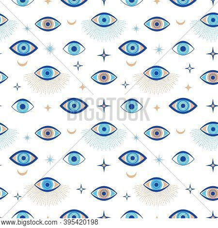 Evil Eye Seamless Pattern. Magic Talisman And Occult Symbol. Greek Ethnic Blue, White And Golden Thi