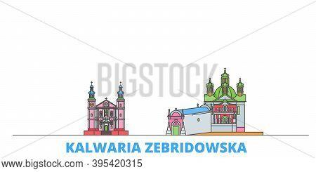 Poland, Kalwaria Zebrzydowska Line Cityscape, Flat Vector. Travel City Landmark, Oultine Illustratio