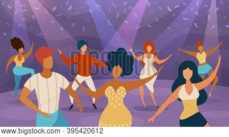 People Dance Floor. Happy Women And Men Dancing On Disco Party. Cartoon Dancers In Nightclub Concert