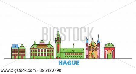 Netherlands, Hague Line Cityscape, Flat Vector. Travel City Landmark, Oultine Illustration, Line Wor