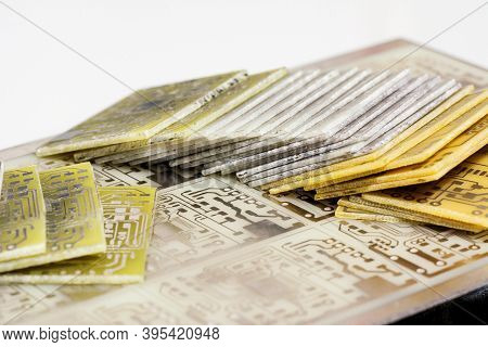Lot Of Printed Circuit Board. Pile Of Pcb Isolated On White Background. Designing Diy Project. Selec