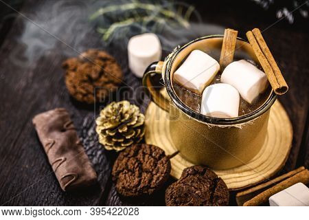 Hot Chocolate With Marshmallow Candies, A Typical Christmas And Holiday Drink
