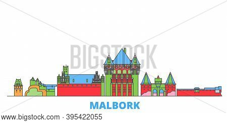 Poland, Malbork Line Cityscape, Flat Vector. Travel City Landmark, Oultine Illustration, Line World