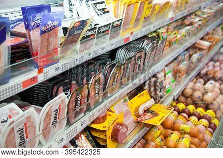 Kaliningrad, Russia - November 18, 2020: Sausages On Shelves Of Local Russian Supermarket.