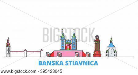 Slovakia, Banska Stiavnica Line Cityscape, Flat Vector. Travel City Landmark, Oultine Illustration,