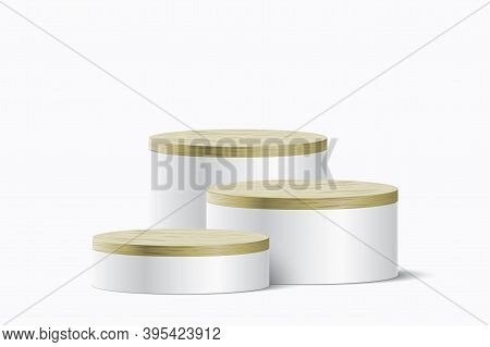 Cylinder Form Elegant Pedestals With Wooden Covers, For Cosmetic, Or Other Product Presentation. Abs