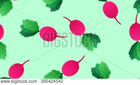 Radish On A Green Background, Vector Illustration, Pattern. Oblong Radish, A Healthy Vegetable For S