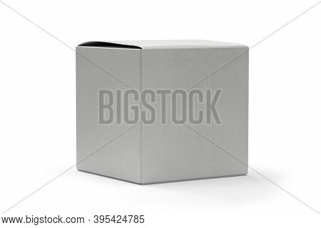 Cube Shaped Cardboard Mockup Isolated On White Background - 3d Render