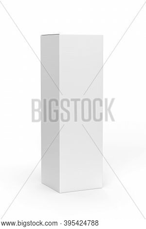 High Vertical Carton Mockup - Alcohol Packaging Mockup - Isolated On White Background - 3d Render