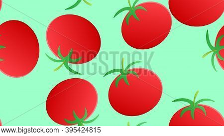Tomato On A Green Background, Vector Illustration, Pattern. Appetizing Tomato, Fresh Salad, Healthy