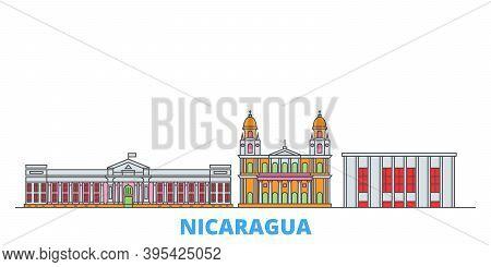 Nicaragua, Managua Line Cityscape, Flat Vector. Travel City Landmark, Oultine Illustration, Line Wor