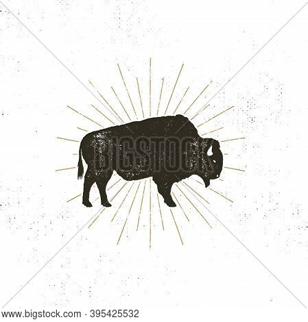Bison Icon Silhouette. Retro Letterpress Effect. Buffalo Symbol With Sunbursts Isolated On White Bac