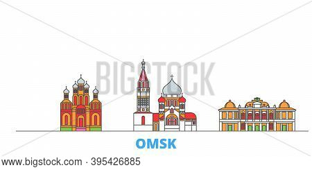 Russia, Omsk Line Cityscape, Flat Vector. Travel City Landmark, Oultine Illustration, Line World Ico