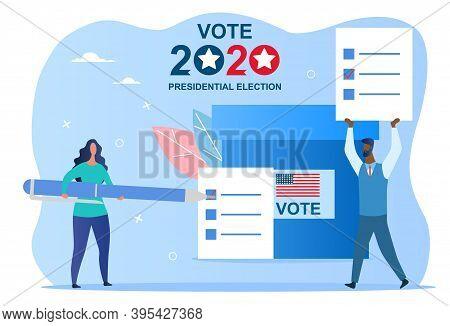 Abstract Voting Concept In Flat Style. Democratic Electoral Procedure. Cartoon Vector Illustration I