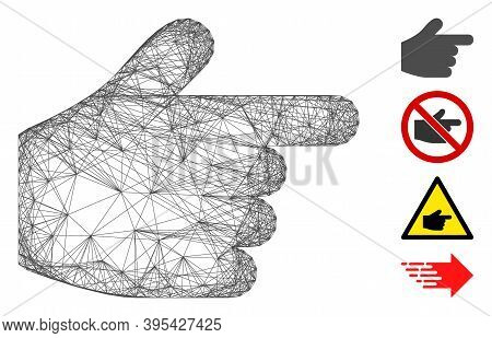 Vector Network Pointer Finger. Geometric Wire Frame Flat Network Generated With Pointer Finger Icon,