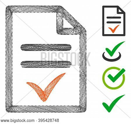 Vector Net Valid Document. Geometric Linear Frame 2d Net Made From Valid Document Icon, Designed Fro