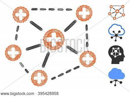 Vector Net Medical Network Structure. Geometric Wire Carcass 2d Net Generated With Medical Network S