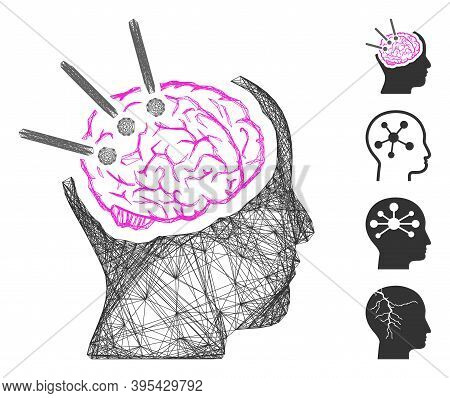 Vector Wire Frame Brain Autopsy. Geometric Linear Frame Flat Network Made From Brain Autopsy Icon, D