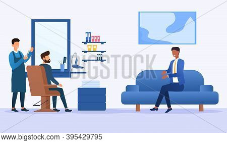 Barbershop, Hairdresser Service Concept. Hairdresser Holding Scissors Doing Haircut For Young Man. A