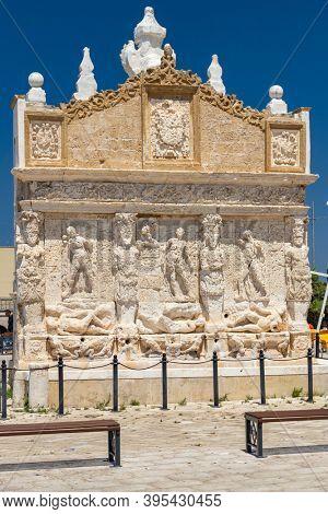 Greca fountain in old town Gallipoli, Lecce, Apulia, Italy