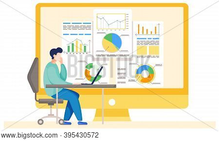 Businessman Working And Analyzing Financial Statistics. The Marketer Studies Information About The M