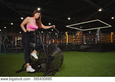 Beautiful Focused Young Plus Size Woman Exercising On Air Bike. Charming Healthy Plus Size Curvy Wom