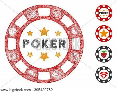 Vector Net Poker Casino Chip. Geometric Hatched Carcass 2d Net Made From Poker Casino Chip Icon, Des