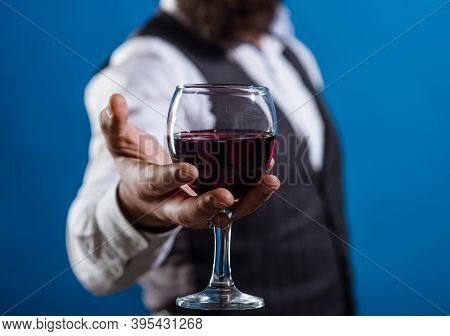 Wine Glass Close Up. Bearded Man With Glass Of Wine. Tasting Alcohol. Red Wine. Man With Alcohol. Ma