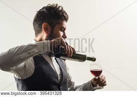 Alcohol Tasting. Wine Glass. Tasting Alcohol. Red Wine. Bearded Man With Glass Of Wine. Man Drinks R