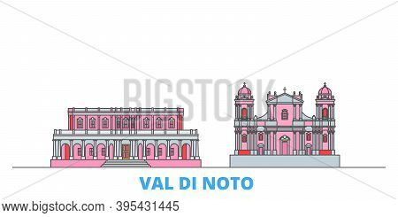 Italy, Val Di Noto Line Cityscape, Flat Vector. Travel City Landmark, Oultine Illustration, Line Wor