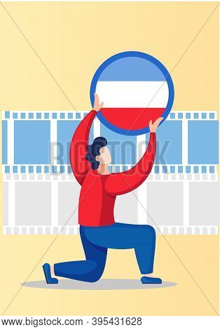 Yugoslav Foreign Language Courses. Vector Illustration With A Man Holding Yugoslavia Word Flag In Ci