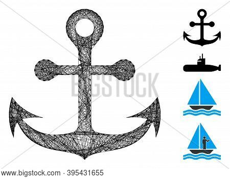 Vector Net Navy Anchor. Geometric Wire Carcass 2d Net Generated With Navy Anchor Icon, Designed From