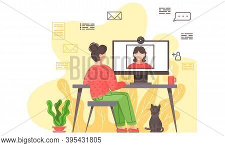 Video Conference And Online Communication Vector Concept. Woman Communicates Remotely, Learning Or M