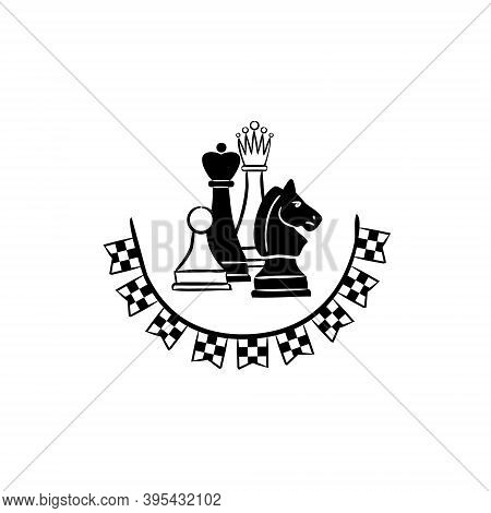 Chess Emblem With Chess Pieces And Flags. Logo For A Chess Club Or Competition. Garland Of Checkered