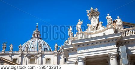 Vatican City In Rome. Detail Of Saint Peter Church Cupola On Top Of Bernini Colonnade