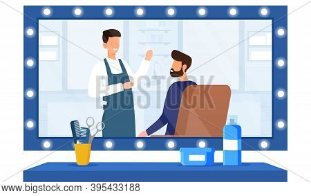 Barbershop, Hairdresser Service Concept. Hairdresser Doing Haircut For Young Bearded Man. Men Charac