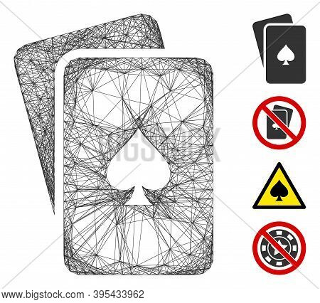 Vector Wire Frame Peaks Playing Cards. Geometric Wire Frame Flat Network Made From Peaks Playing Car