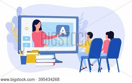 E-learning For Kids Concept. Online Early Childhood Education Courses. Free Online Preschool Games,