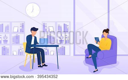 Couple Of Man And Woman Resting, Have Leisure At Home. Man Using Laptop Computer Sitting At Table. W