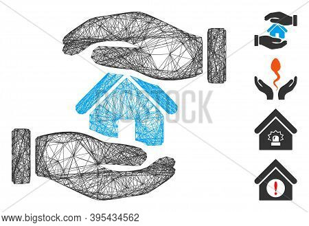Vector Network Realty Insurance Hands. Geometric Linear Carcass Flat Network Generated With Realty I