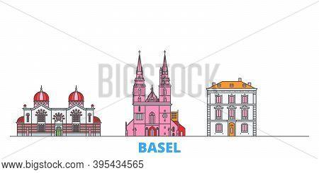 Switzerland, Basel Line Cityscape, Flat Vector. Travel City Landmark, Oultine Illustration, Line Wor