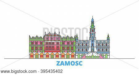 Poland, Zamosc Line Cityscape, Flat Vector. Travel City Landmark, Oultine Illustration, Line World I