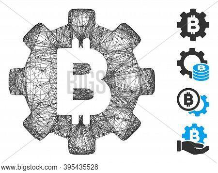 Vector Wire Frame Bitcoin Cog Wheel. Geometric Wire Frame 2d Net Made From Bitcoin Cog Wheel Icon, D