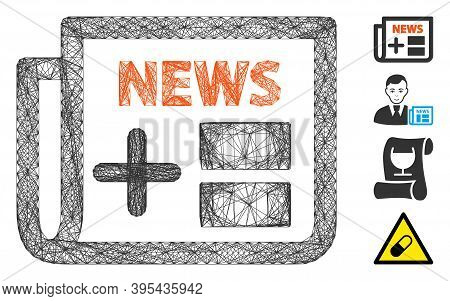 Vector Net Medical Newspaper. Geometric Wire Carcass Flat Net Generated With Medical Newspaper Icon,