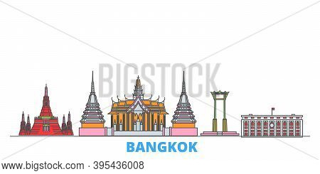 Thailand, Bangkok Line Cityscape, Flat Vector. Travel City Landmark, Oultine Illustration, Line Worl
